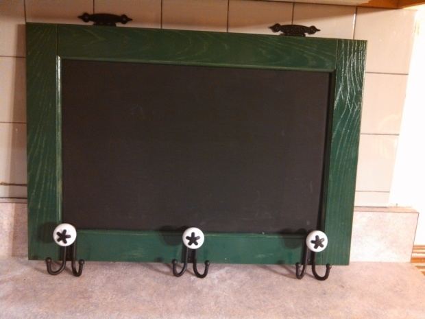 Coat Hooks with Chalkboard background